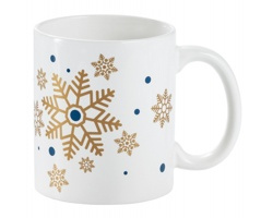 Keramický hrnek SNOWFLAKE MUG s vánočním motivem, 350 ml - zlatá