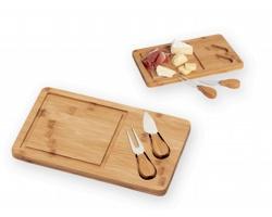 Bambusové krájecí prkénko CORLEONE s nožem a vidličkou - přírodní