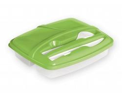 Plastový jídelní box CHOLET s příborem - světle zelená