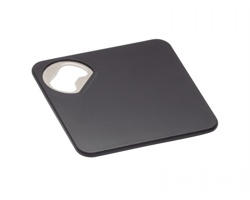 Plastový podtácek FARIS tvaru čtverce, 2v1 - černá