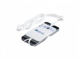 Silikonová šňůrka na krk TRUMEN s držákem telefonu a kapsou na kartu - bílá