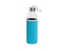 Skleněná sportovní láhev ZAYNA s textilním obalem, 520 ml - světle modrá
