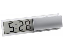 Plastové stolní digitální hodiny ICY II - saténově stříbrná