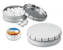 Mentolové bonbóny v kovové krabičce TINSY, 70 mentolek - bílá