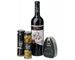 Dárková sada CARTAGENA s vínem, šunkou a olivami