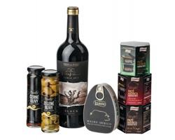 Dárková sada pochutin SAN SEBASTIAN víno, šunka, paštika a olivy
