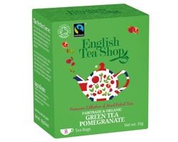 BIO fairtrade zelený čaj English Tea Shop LITTLE GREEN s příchutí granátového jablka, 8 sáčků - zelená