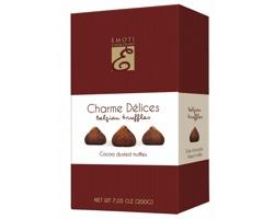 Lanýže z mléčné čokolády DUSTED COCOA s kakaovou náplní, 200g - bordó