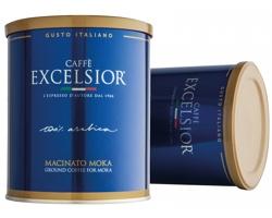 Mletá italská pražená káva arabica CAFFE EXCELSIOR v plechové krabičce, 250g - královská modrá