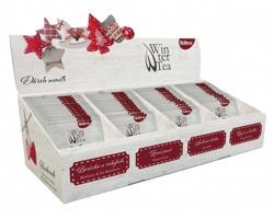 Velká čajová kolekce 4 druhů čajů WINTER TEA COLLECTION s dřevěným sněhulákem, 60 sáčků