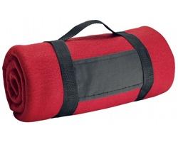 Fleecová cestovní deka FIT II s popruhem - červená