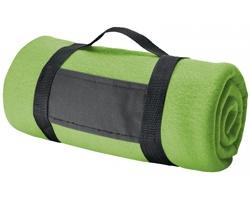 Fleecová cestovní deka FIT II s popruhem - světle zelená
