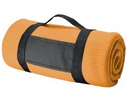 Fleecová cestovní deka FIT II s popruhem - oranžová