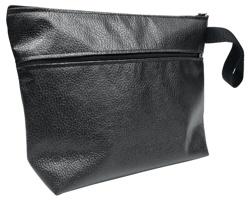 Eko kožená unisexová kosmetická taška RADHINO s poutkem - černá
