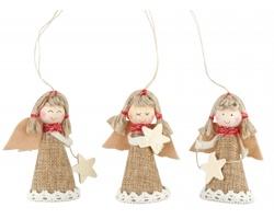 Textilní vánoční ozdoba ANYELA MIX v provedení andílka - přírodní