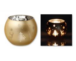 Skleněný vánoční svícen CANDELERO - zlatá