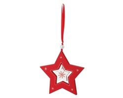 Dřevěná vánoční ozdoba STAR CHARM tvaru hvězdy s poutkem na zavěšení - červená