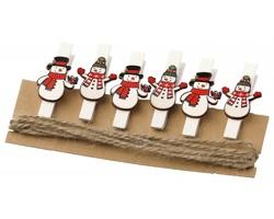 Sada vánočních kolíčků COLIQI s motivy sněhuláků, 6 ks