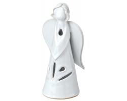 Keramický svícen KANDELITO ve tvaru anděla - bílá