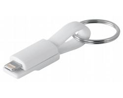 Plastový přívěsek na klíče micro USB kabel VENDEL, 2v1 - bílá