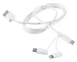 Sada nabíjecích kabelů ZALIM pro chytré telefony, 3v1 - bílá