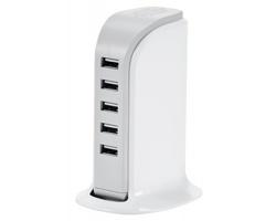 Plastová nabíjecí stanice USBAN s 5 USB porty - bílá