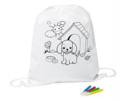 Textilní omalovánkový batoh pro děti BARKIN, se 4 fixami - bílá