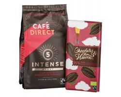 Dárková sada mleté kávy INTENSE BOX a tabulkové čokolády