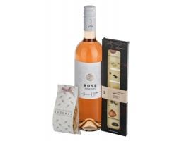 Dárková sada vína a čokolády ROSE PLEASURE s levandulovými sušenkami