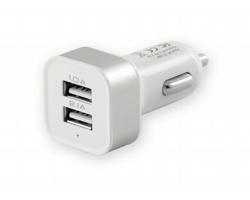 Plastový USB adaptér do automobilu ELDO, 2 USB výstupy - bílá