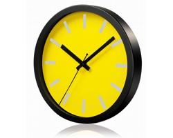 Hliníkové nástěnné hodiny FRENCH s tichým chodem ručiček - žlutá
