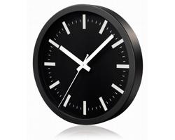 Hliníkové nástěnné hodiny FRENCH s tichým chodem ručiček - černá