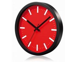 Hliníkové nástěnné hodiny FRENCH s tichým chodem ručiček - červená