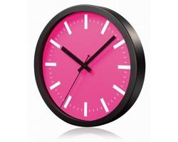 Hliníkové nástěnné hodiny FRENCH s tichým chodem ručiček - růžová
