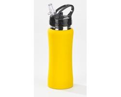 Hliníková láhev BLIND s transparentním plastovým pítkem, 600 ml - žlutá