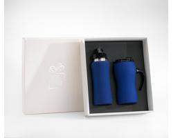 Praktická sada cestovního hrnku a láhve BROWNED v dárkové krabičce - tmavě modrá