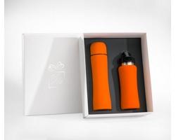 Praktická sada termosky a lahve na vodu SCUPS v dárkové krabičce - oranžová