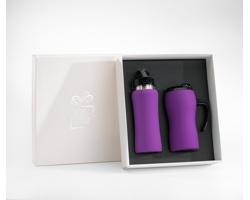 Praktická sada cestovního hrnku a láhve BROWNED v dárkové krabičce - fialová