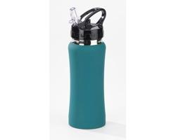 Hliníková láhev BLIND s transparentním plastovým pítkem, 600 ml - tyrkysová