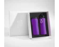 Sada láhve na pití a termohrnku BROAD v dárkové krabičce - fialová