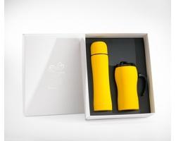 Sada nerezové termosky a termohrnku UNRIGHT v dárkové krabičce - žlutá