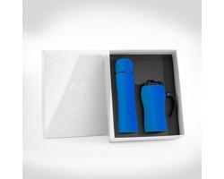 Sada nerezové termosky a termohrnku UNRIGHT v dárkové krabičce - modrá