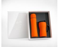 Sada nerezové termosky a termohrnku UNRIGHT v dárkové krabičce - oranžová