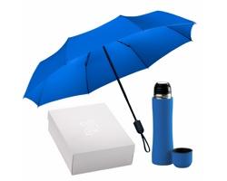 Sada nerezové termosky a skládacího deštníku FIRES v dárkové krabičce - modrá