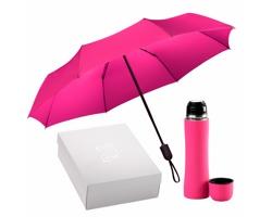 Sada nerezové termosky a skládacího deštníku FIRES v dárkové krabičce - růžová