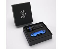 Praktická sada baterky a kapesního nože CRIB v dárkové krabičce - modrá