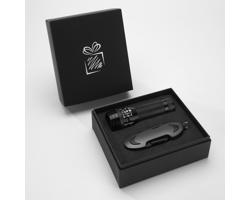 Praktická sada baterky a kapesního nože CRIB v dárkové krabičce - šedá