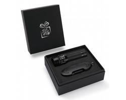Praktická sada baterky a kapesního nože CRIB v dárkové krabičce - černá