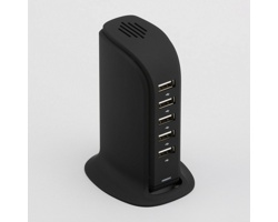 Vysokorychlostní dobíjecí stanice TOWER s 5 USB porty - černá
