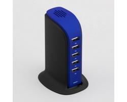 Vysokorychlostní dobíjecí stanice TOWER s 5 USB porty - tmavě modrá